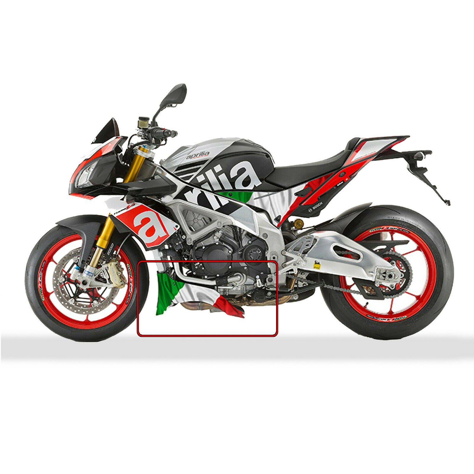 aprilia tuono v4 1100 factory custom italian flag belly. Black Bedroom Furniture Sets. Home Design Ideas