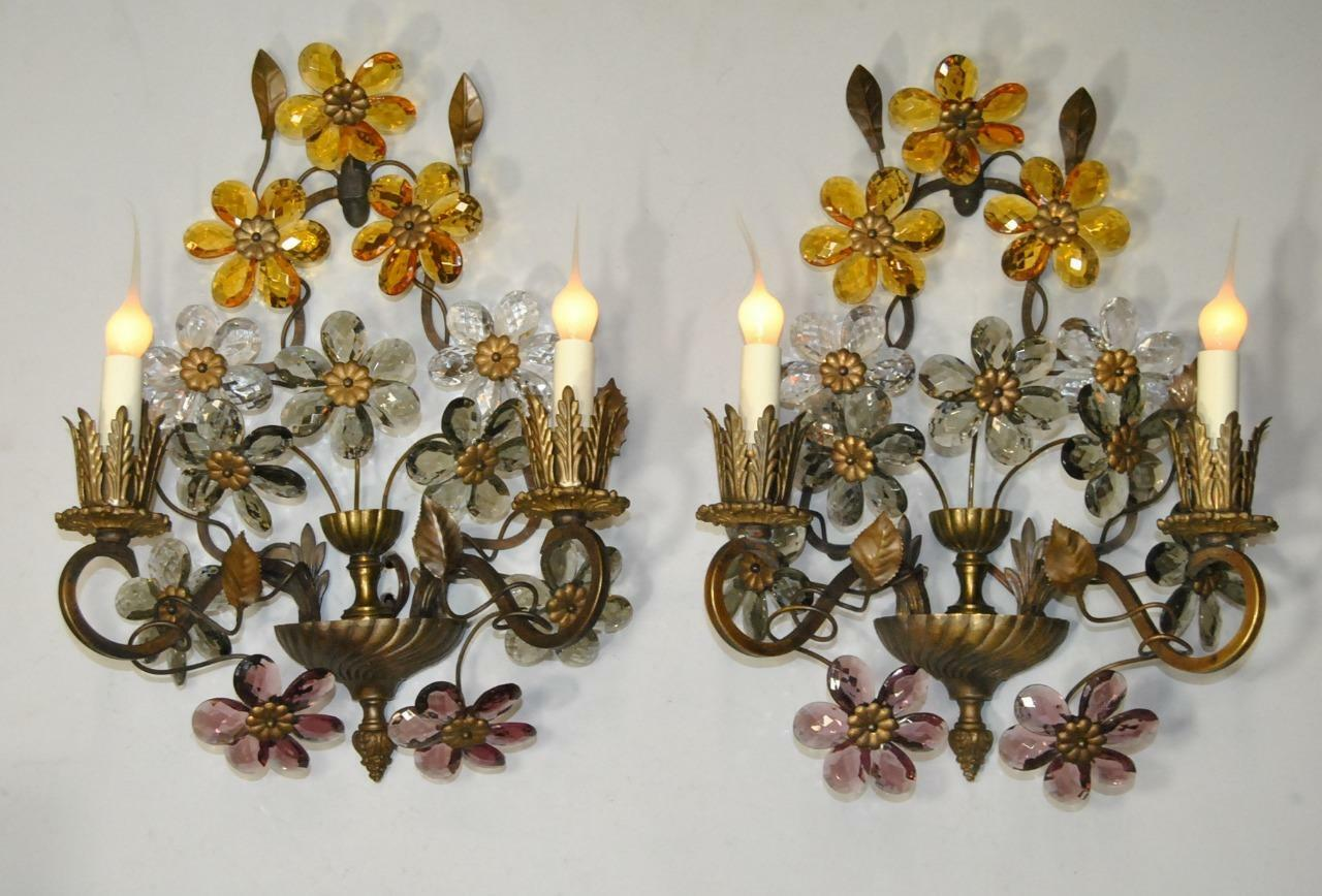 Pair of Antique French Bronze Two Light Wall Sconces with 9 Cut Crystal Flowers