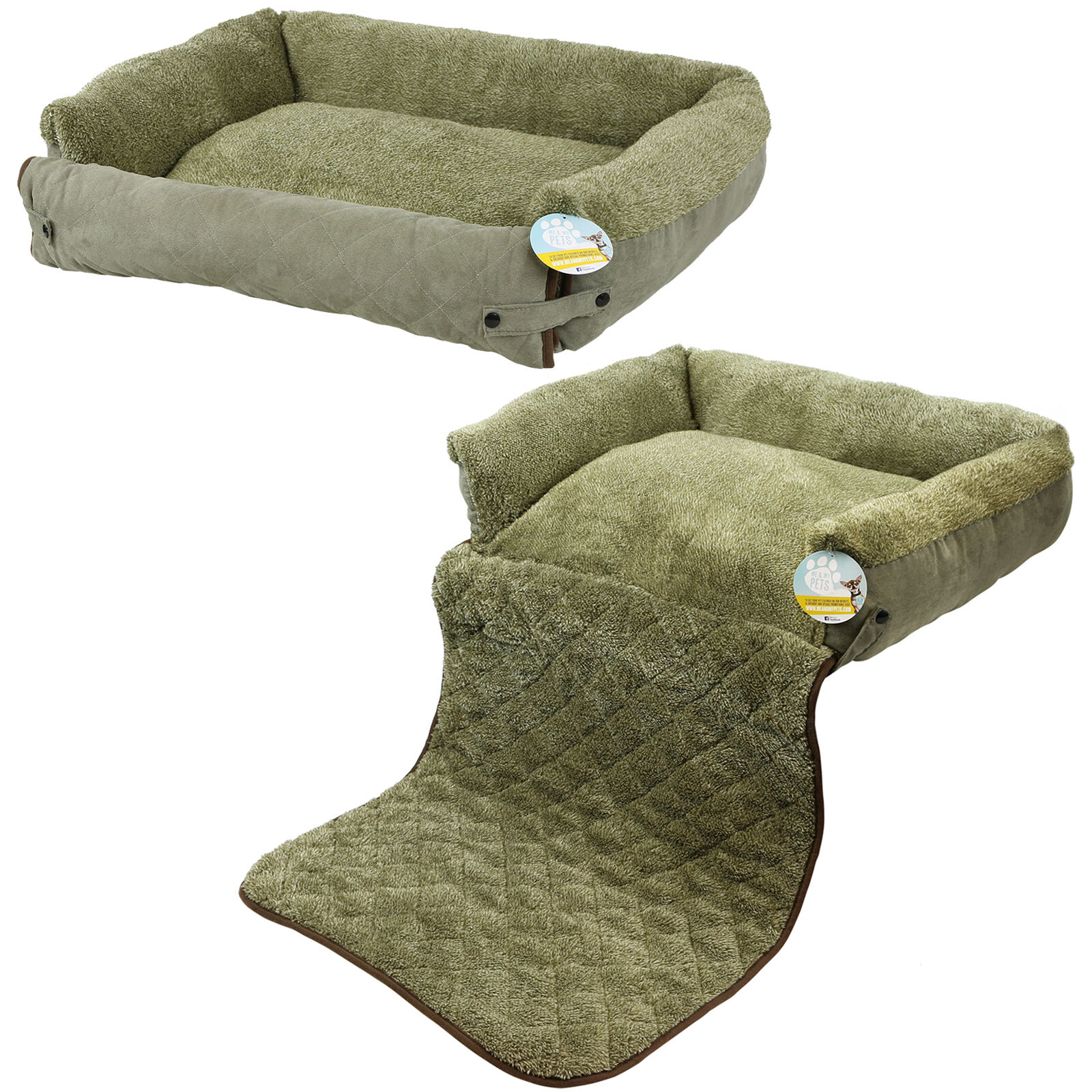 Me & My Pet Quilted Green Fleece Fold Out Cat/dog Bed Sofa/couch/chair Protector