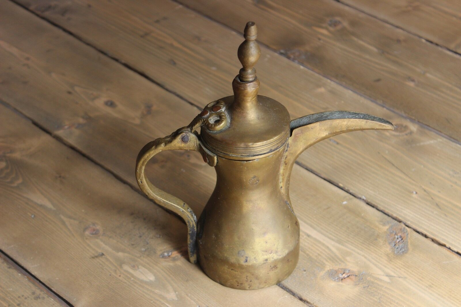 "Antique 9"" Arabic Islamic Brass Copper Dallah Bedouin Coffee / Tea Pot"
