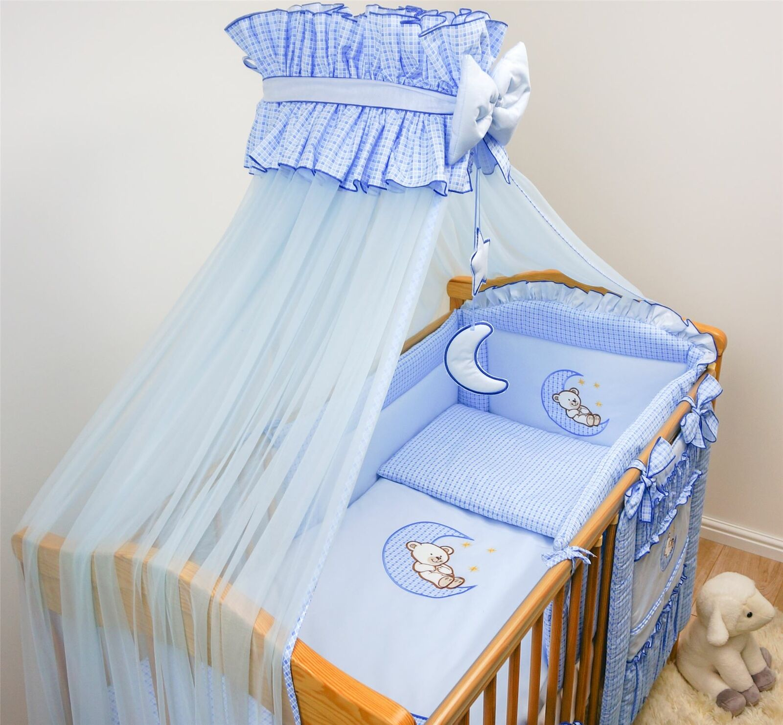 LUXURY BABY CANOPY /DRAPE 480cm WIDTH + HOLDER Fits COT BED - BLUE CHECK STAR