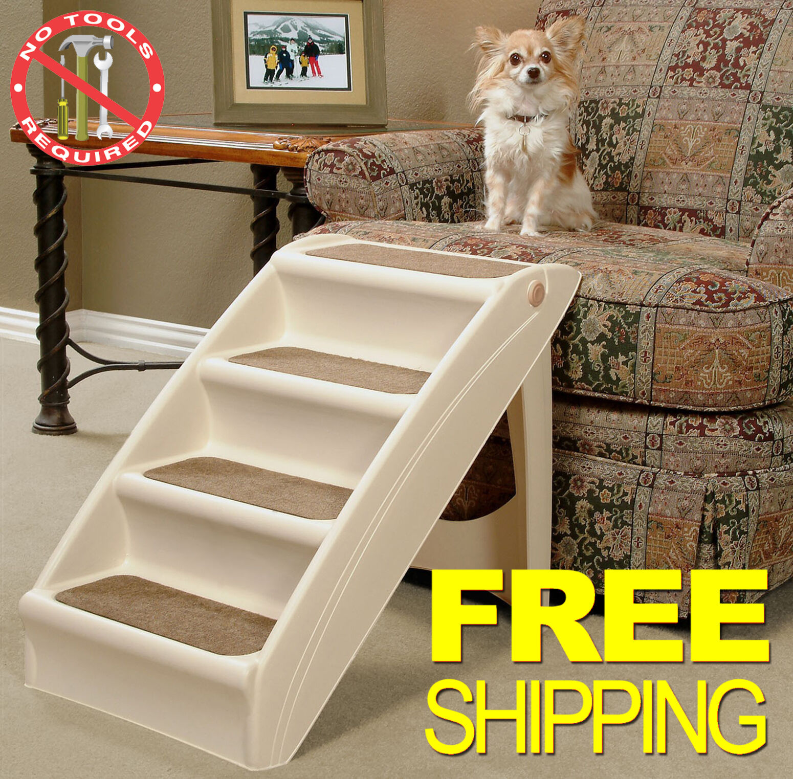 10 Of 12 Pet Stairs Dog Steps Cat Ramp Doggy Step Portable Folding Ladder  Animal Safe New 11 Of 12 Pet Stairs Dog Steps ...