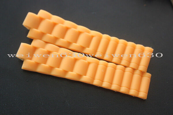 23.5mm rubber Orange Weave wtach band Unisex strap For Chaumet Silicone strap