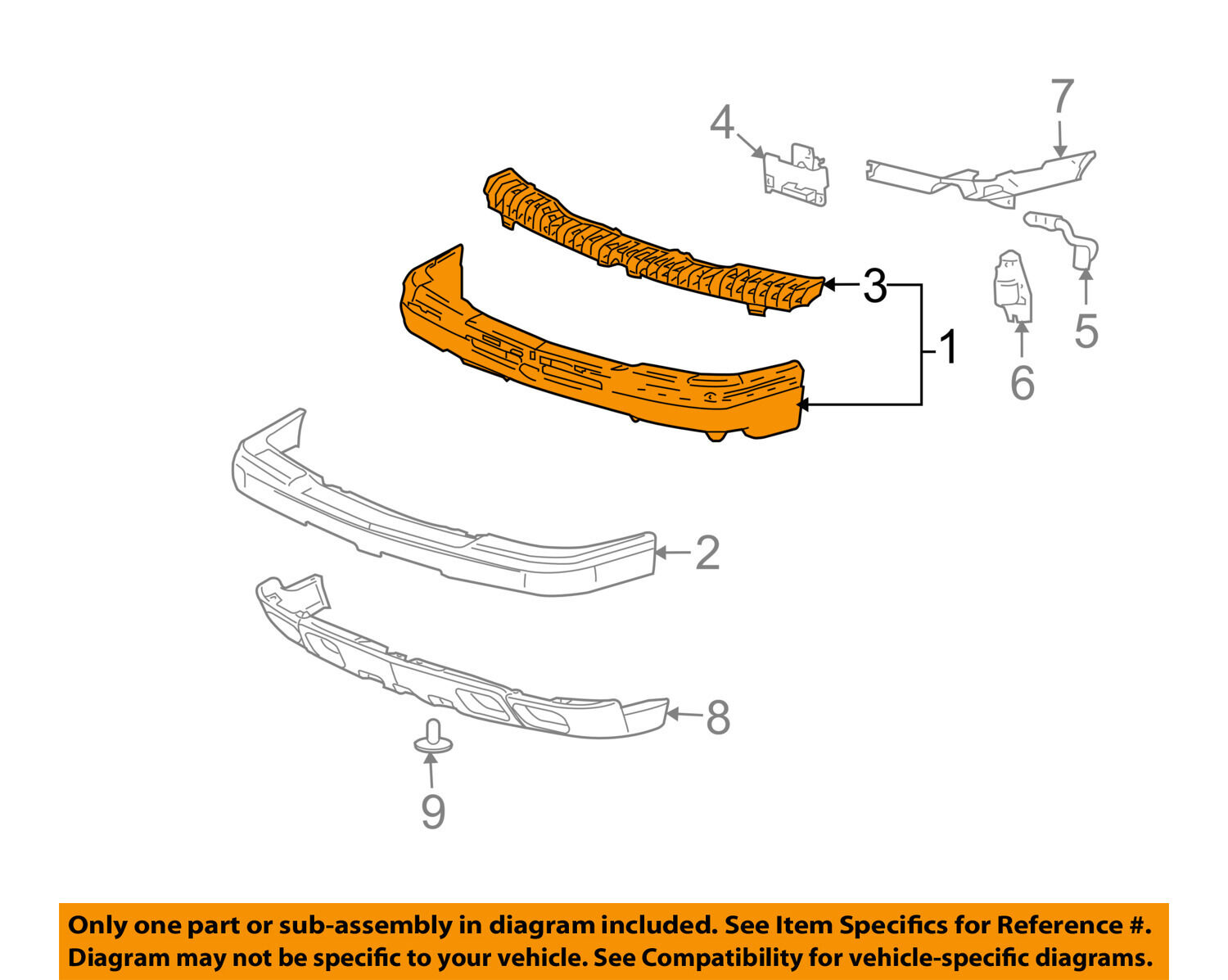Chevrolet Gm Oem 02 06 Avalanche 1500 Front Bumper Assembly 15095920 Engine Diagram 1 Of 2only Available