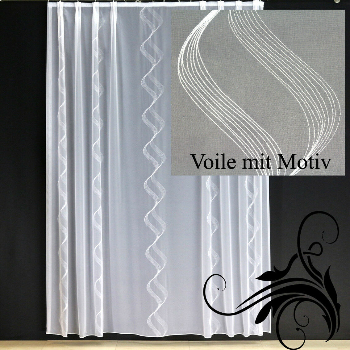 hochwertige fertiggardine voile store mit motiv faltenband bleiband ferrara eur 17 90. Black Bedroom Furniture Sets. Home Design Ideas
