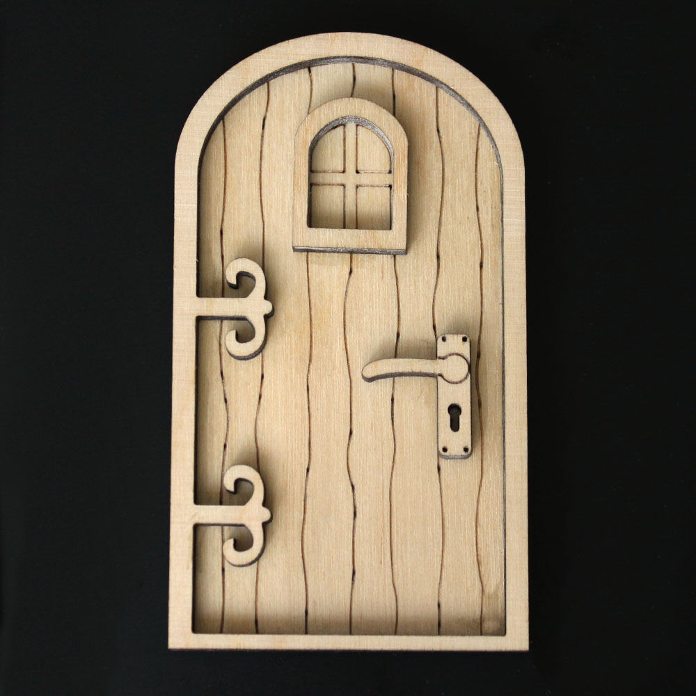 Wooden fairy elf pixie door shape blank craft kit round for Fairy door kits canada