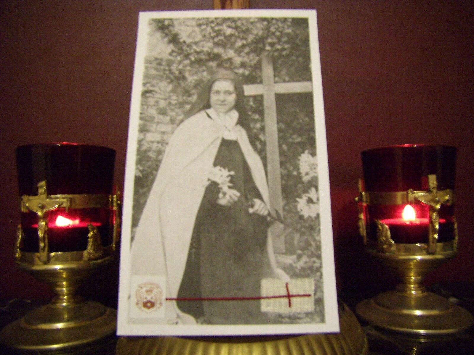St Therese the Little Flower Convent Holy Card with Relic & P