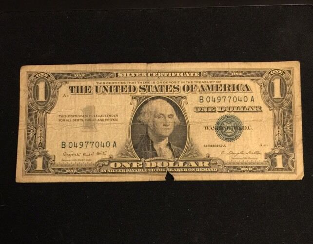 Series 1957a One 1 Dollar Bill Silver Certificate Blue Seal Bdfh