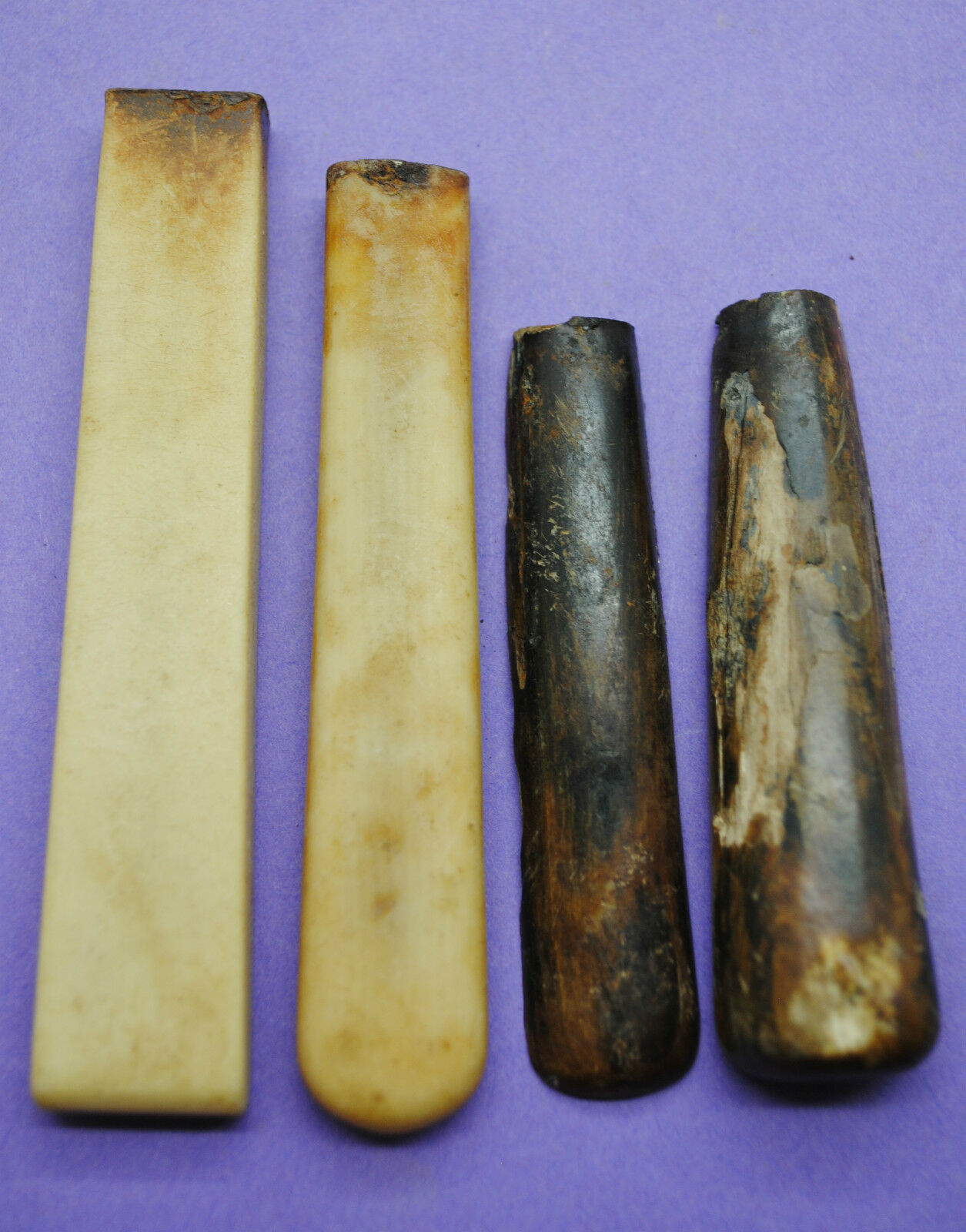 Group of 4 Medieval handles 15th century AD found on Thames foreshore