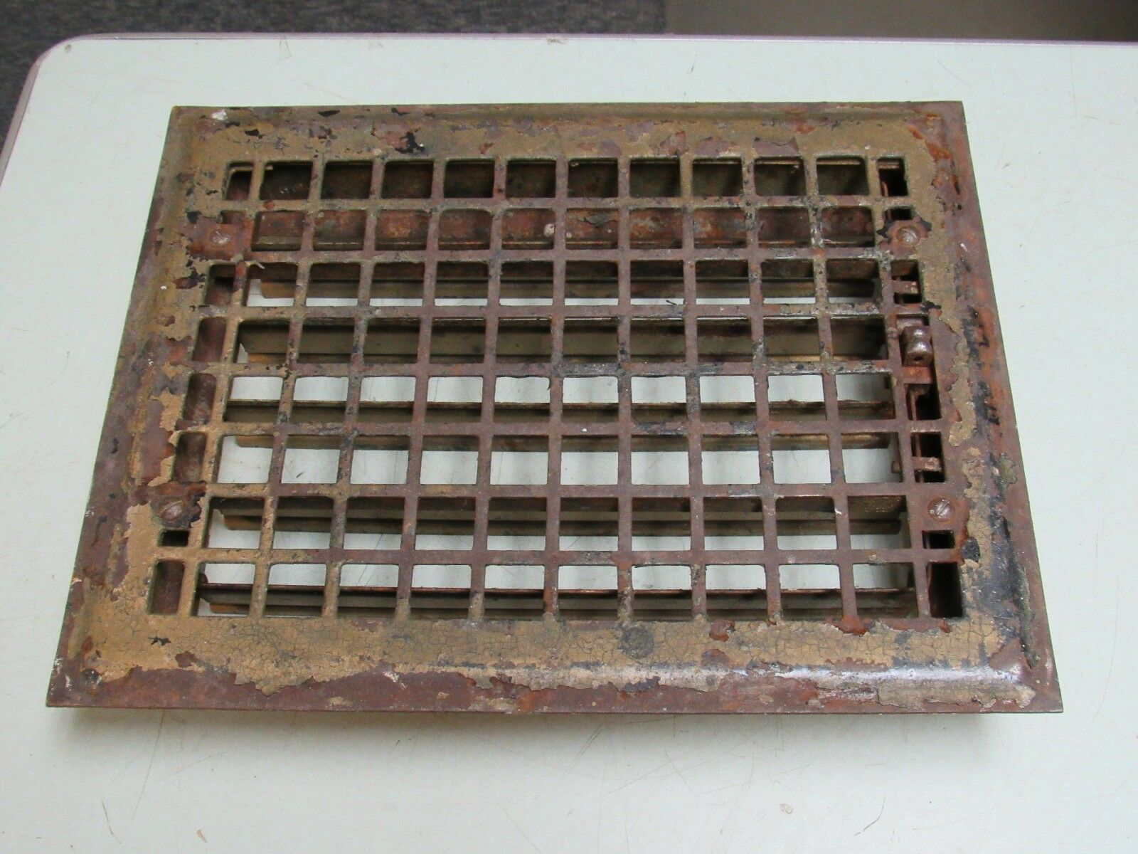 Vintage Metal Square Grid Floor Grate w/Damper FREE SHIP