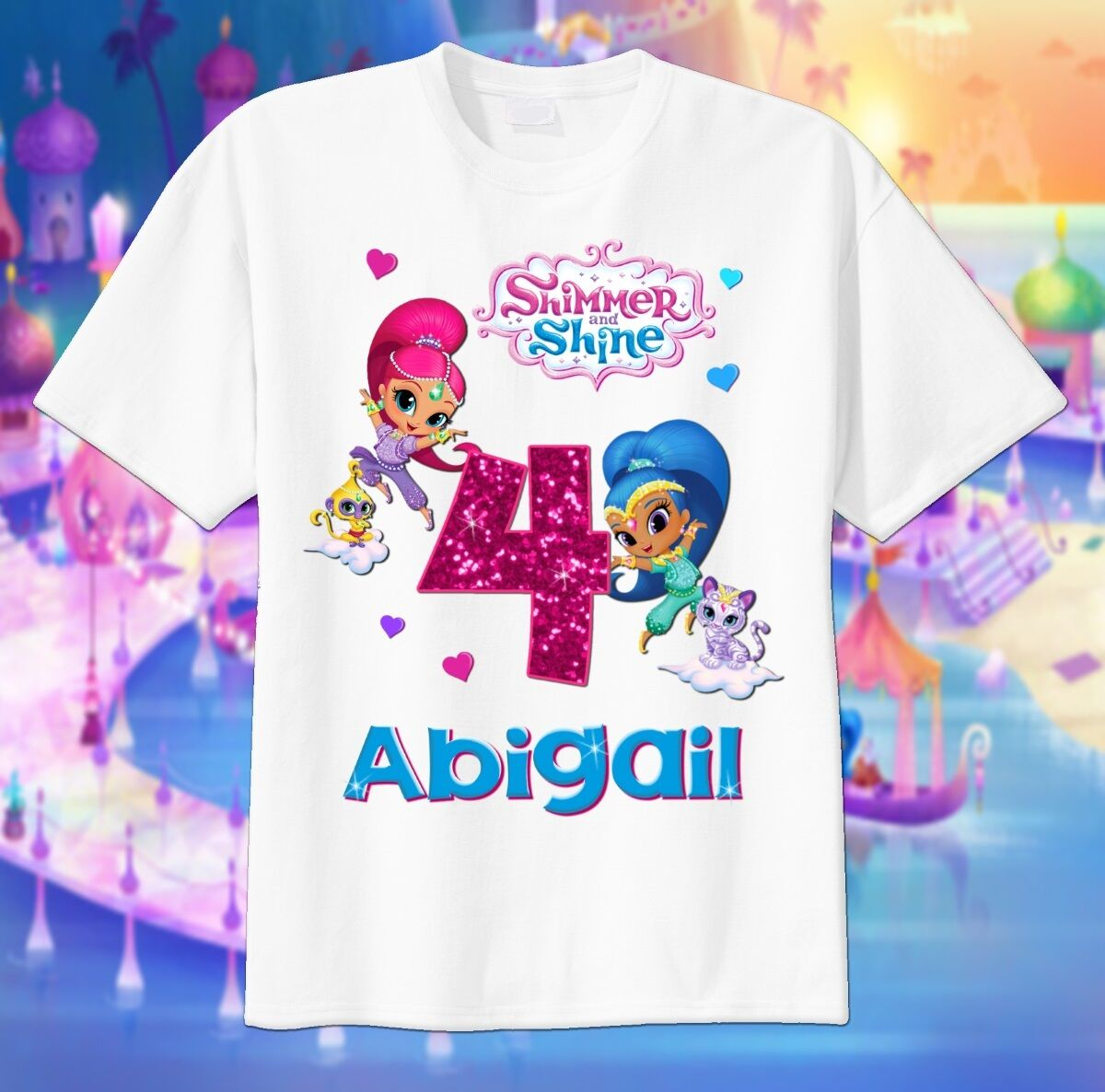 shimmer and shine sparkle custom t shirt personalize birthday add