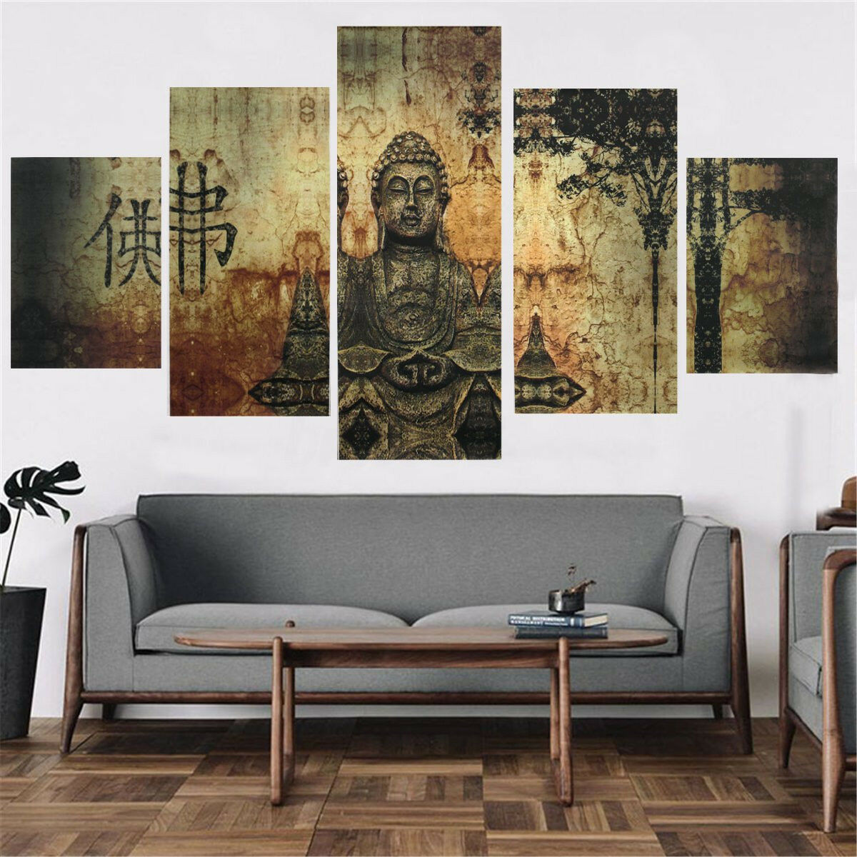 huge buddha abstract canvas art oil painting print home wall decor set unframe picclick. Black Bedroom Furniture Sets. Home Design Ideas