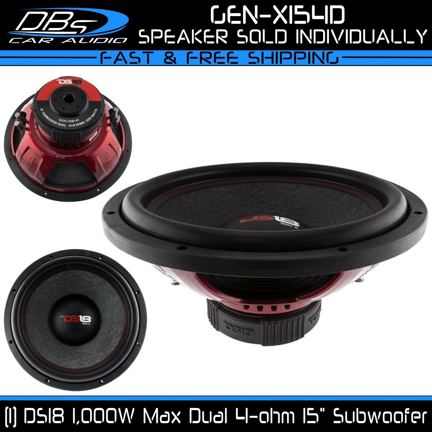 Ds18 Gen X154d 15 Car Subwoofer 1000w Max Dual 4 Ohm Inch Bass 1 Of 6 See More