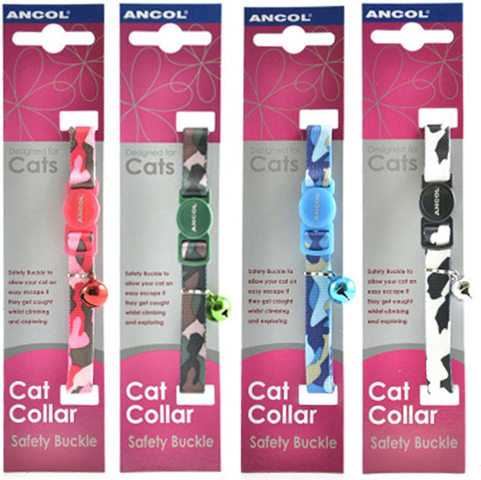 Ancol Camouflage Cat Collar 4 Pack Deal (Green, Black/White, Pink, Blue)
