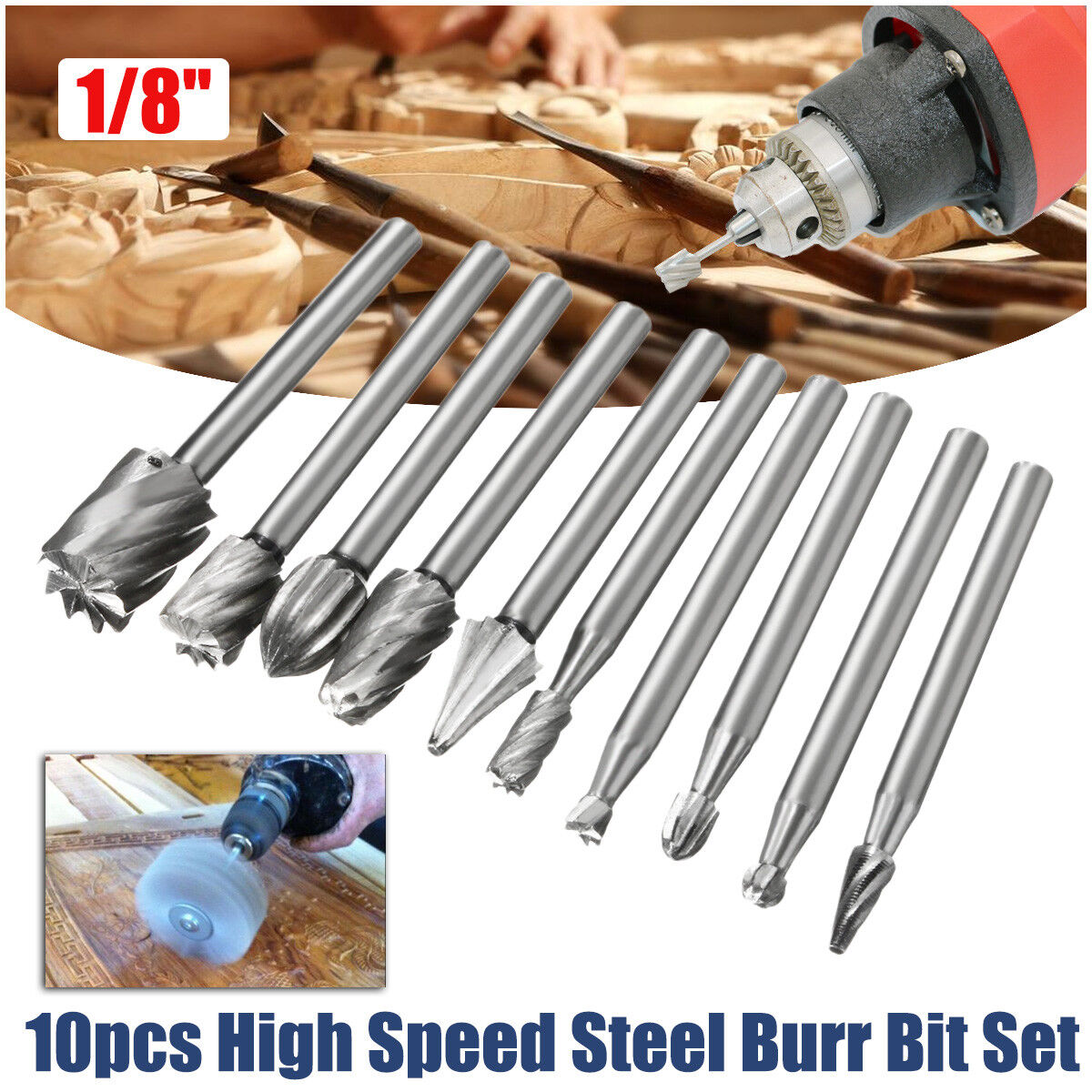 10pc hss foret forage perceuse rev tu drill bit fraises pour dremel 1 8 eur 3 70 picclick fr. Black Bedroom Furniture Sets. Home Design Ideas