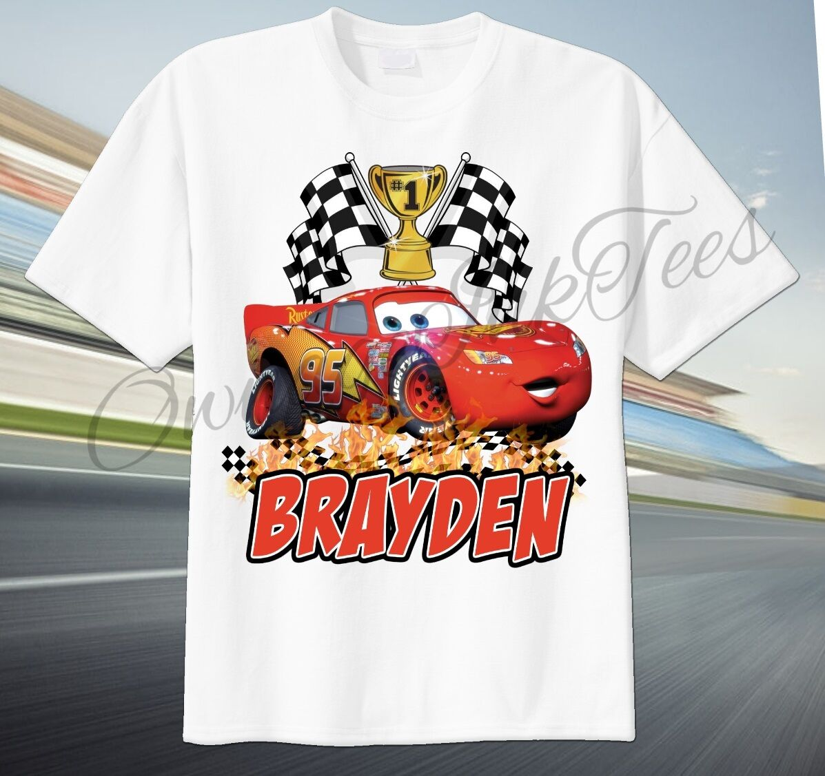 cars lightning mcqueen custom t shirt personalize birthday gift