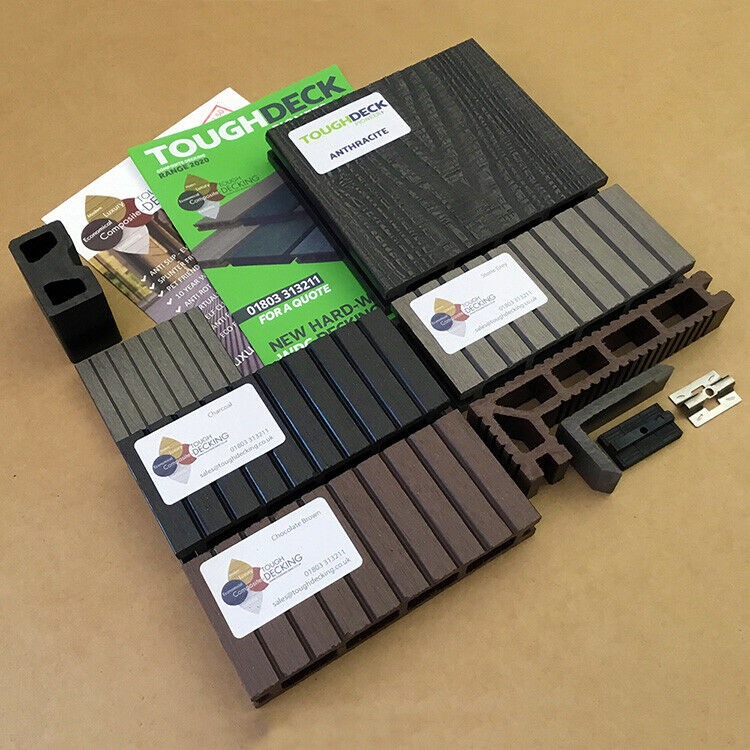 wpc composite decking boards in grey black teak chocolate with 10