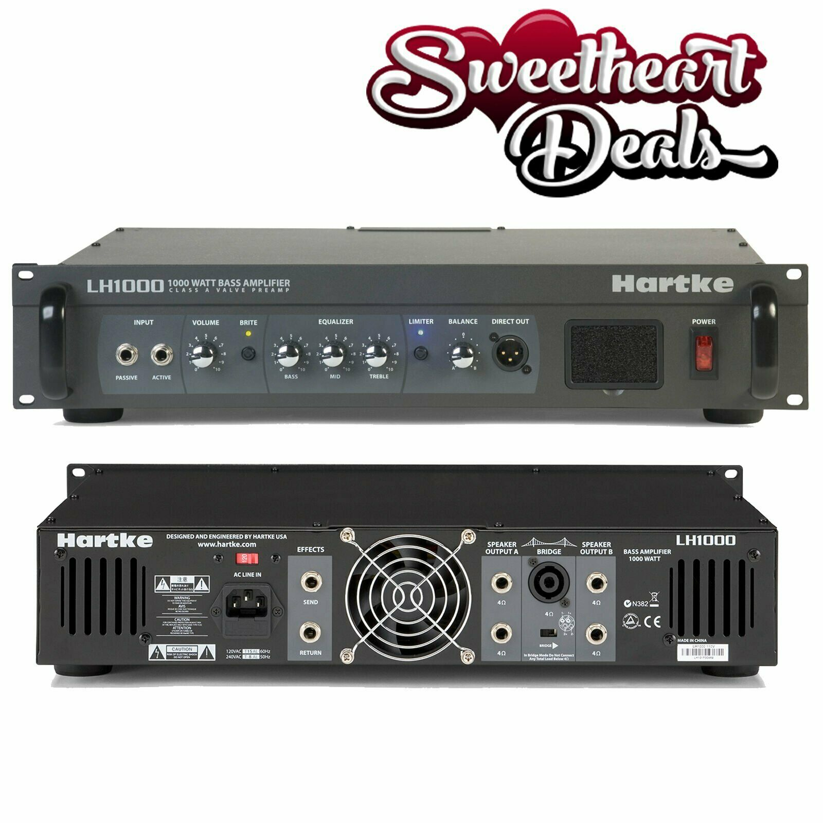 Hartke Lh1000 1000w Bass Guitar Amplifier Head Class A Tube Preamp Pre Amp Circuit 1 Of 4only 2 Available See More