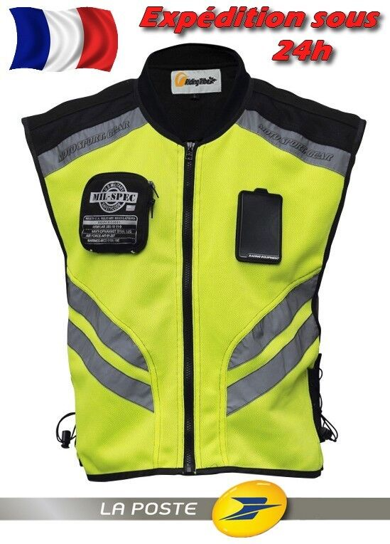 gilet veste s curit moto scooter jaune fluo haute visibilit taille s m 3xl eur 44 99. Black Bedroom Furniture Sets. Home Design Ideas