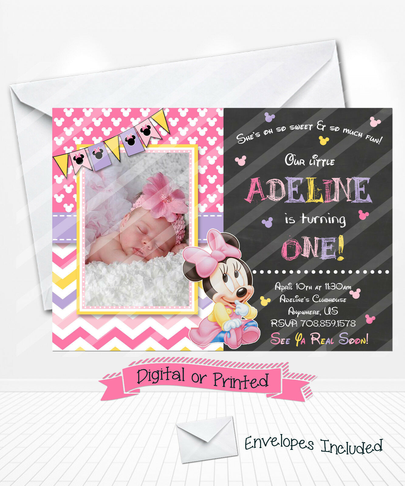 Printed baby minnie mouse 1st birthday invitations pink minnie party printed baby minnie mouse 1st birthday invitations pink minnie party invitations 1 of 1only 4 available filmwisefo