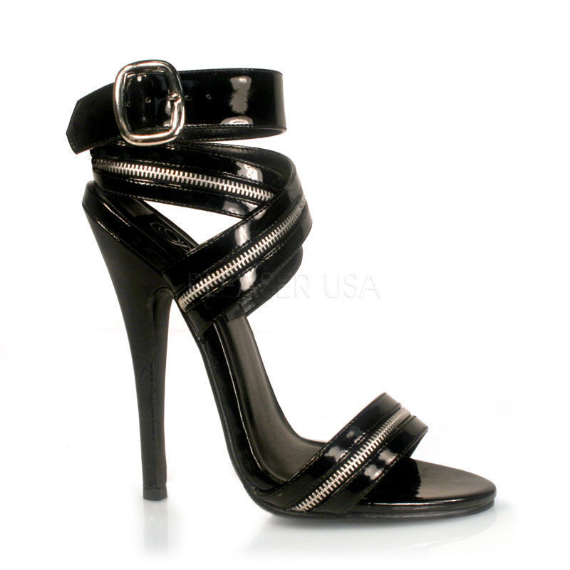 Devious Pleaser Frauen High Heels Sandalette Domina-119 schwarz Lack Gr 35-45