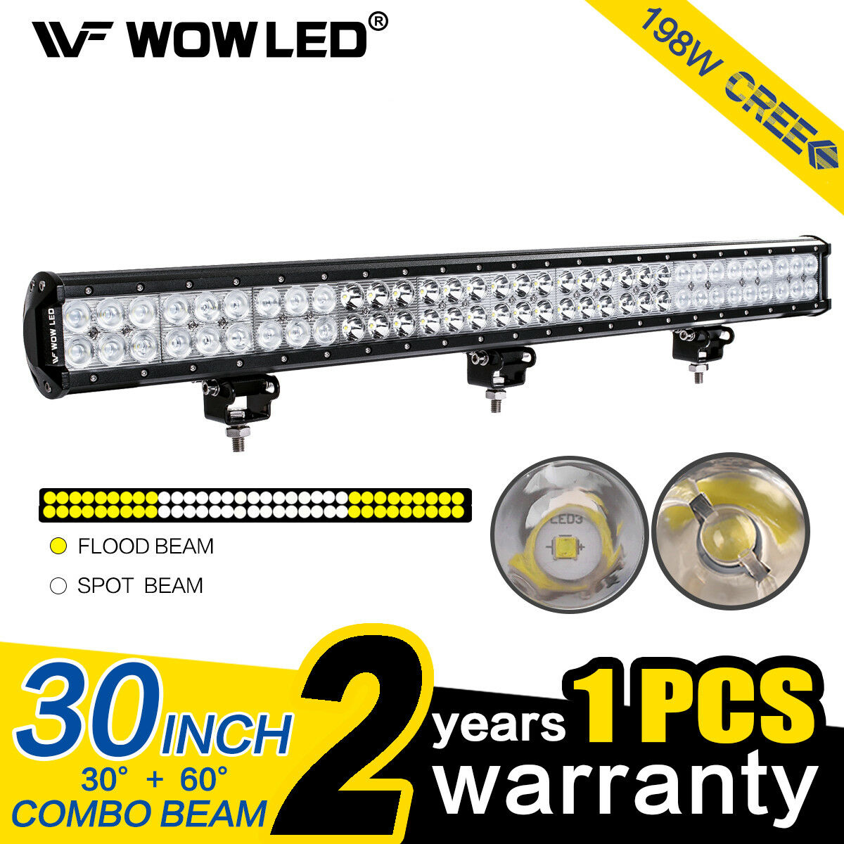 Wow 198w Cree Led Spot Combo Offroad Driving Work Light