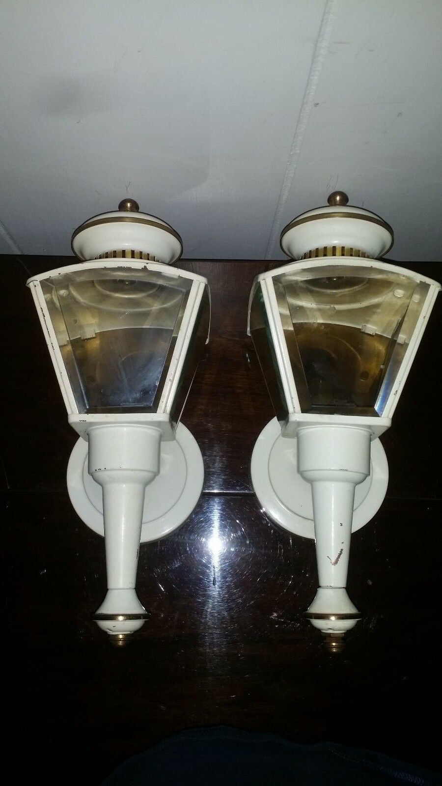 Vintage Pair Enamel Brass Metal Electric Sconces Porch Lights