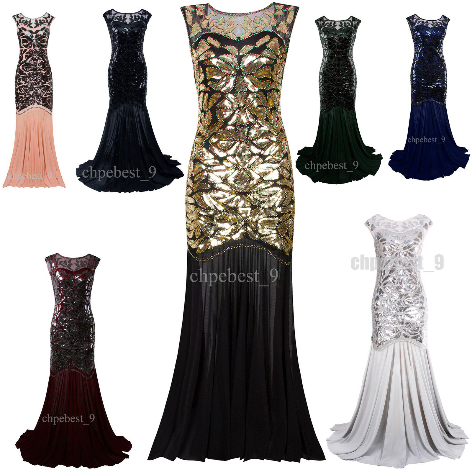 PROM GOWN GATSBY 1920s Flapper Dress Party Evening Bridesmaid ...