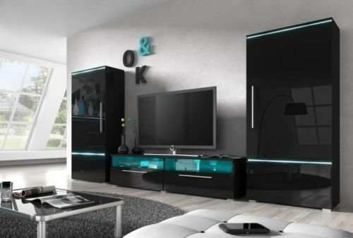 Living room set WALL UNIT tv stand sideboard high gloss  -> Tv Stand And Sideboard Set
