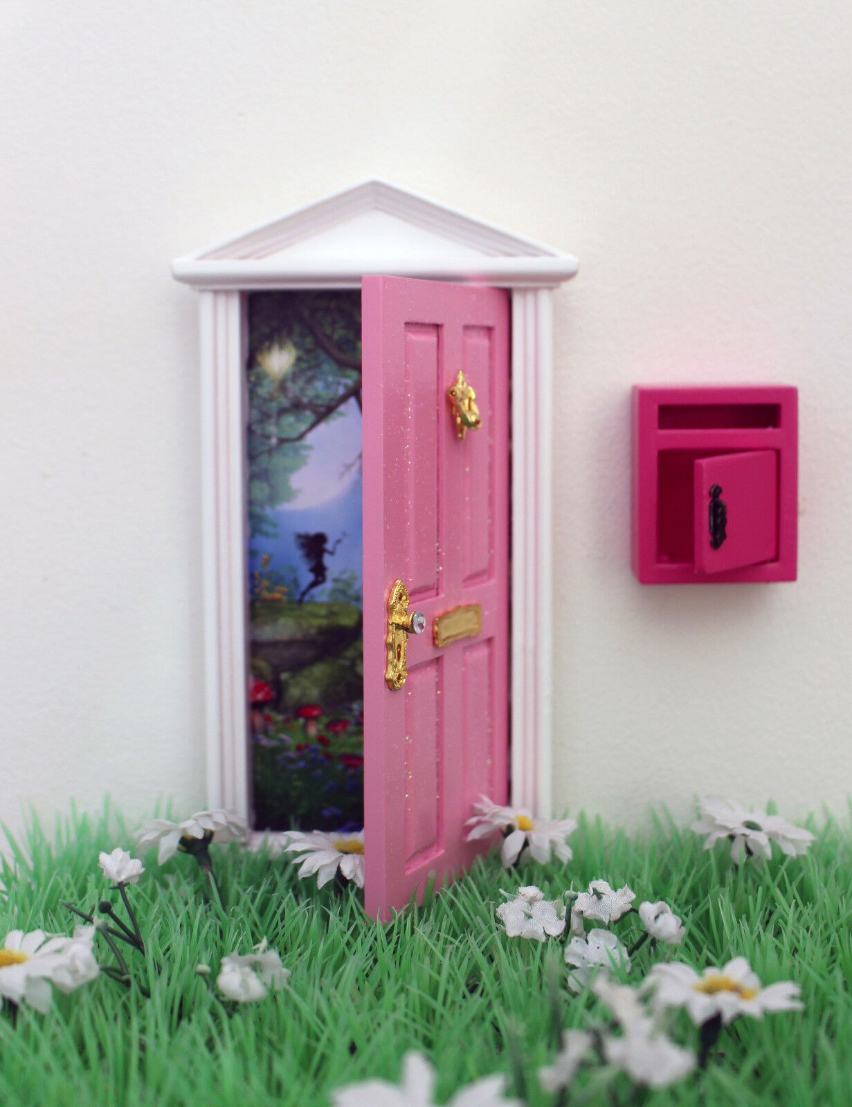 Opening pink fairy door wooden miniature tooth fairy post for Wooden fairy doors