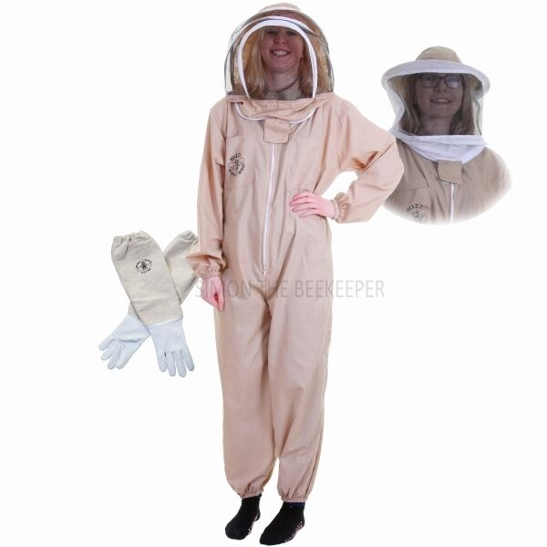 Buzz Basic Beekeeping Suit With Fencing Veil, Spare Round Veil And Gloves -Khaki