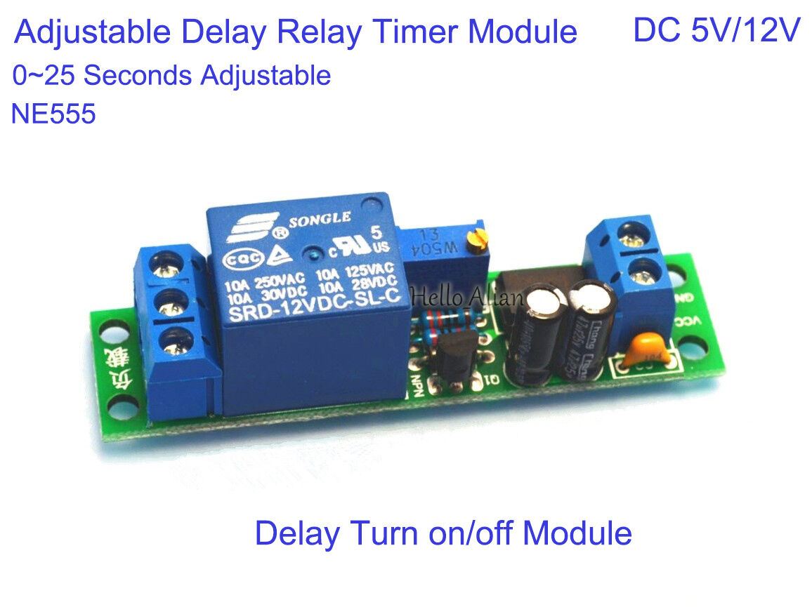 Dc 5v 12v Ne555 025s Adjustable Delay Relay Timer Switch On Off 1pcs Turn Module 1 Of 9free Shipping