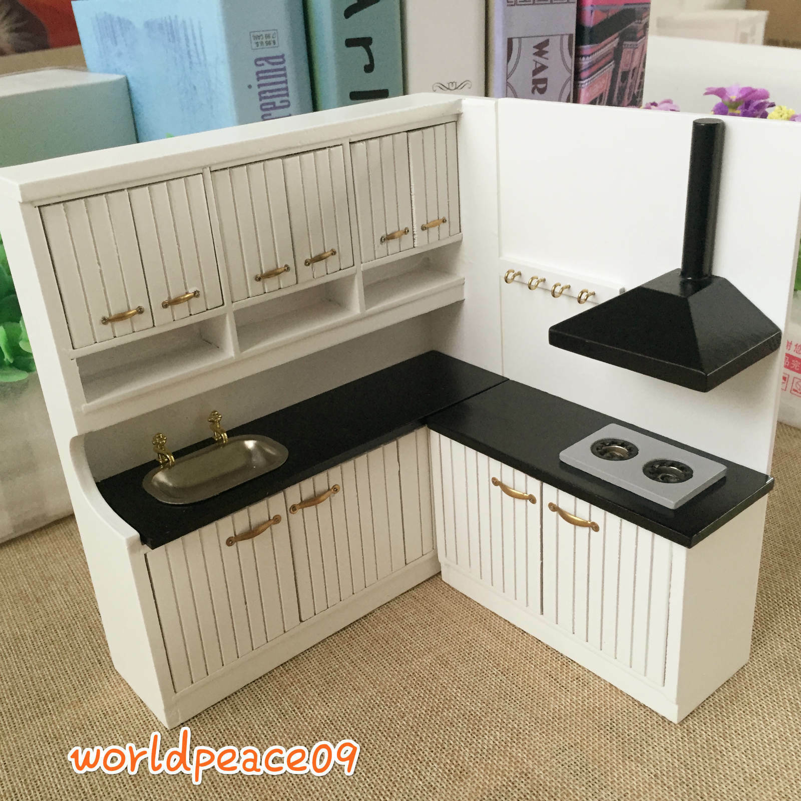 Dollhouse miniature modern kitchen furniture highbacked for Scale model furniture