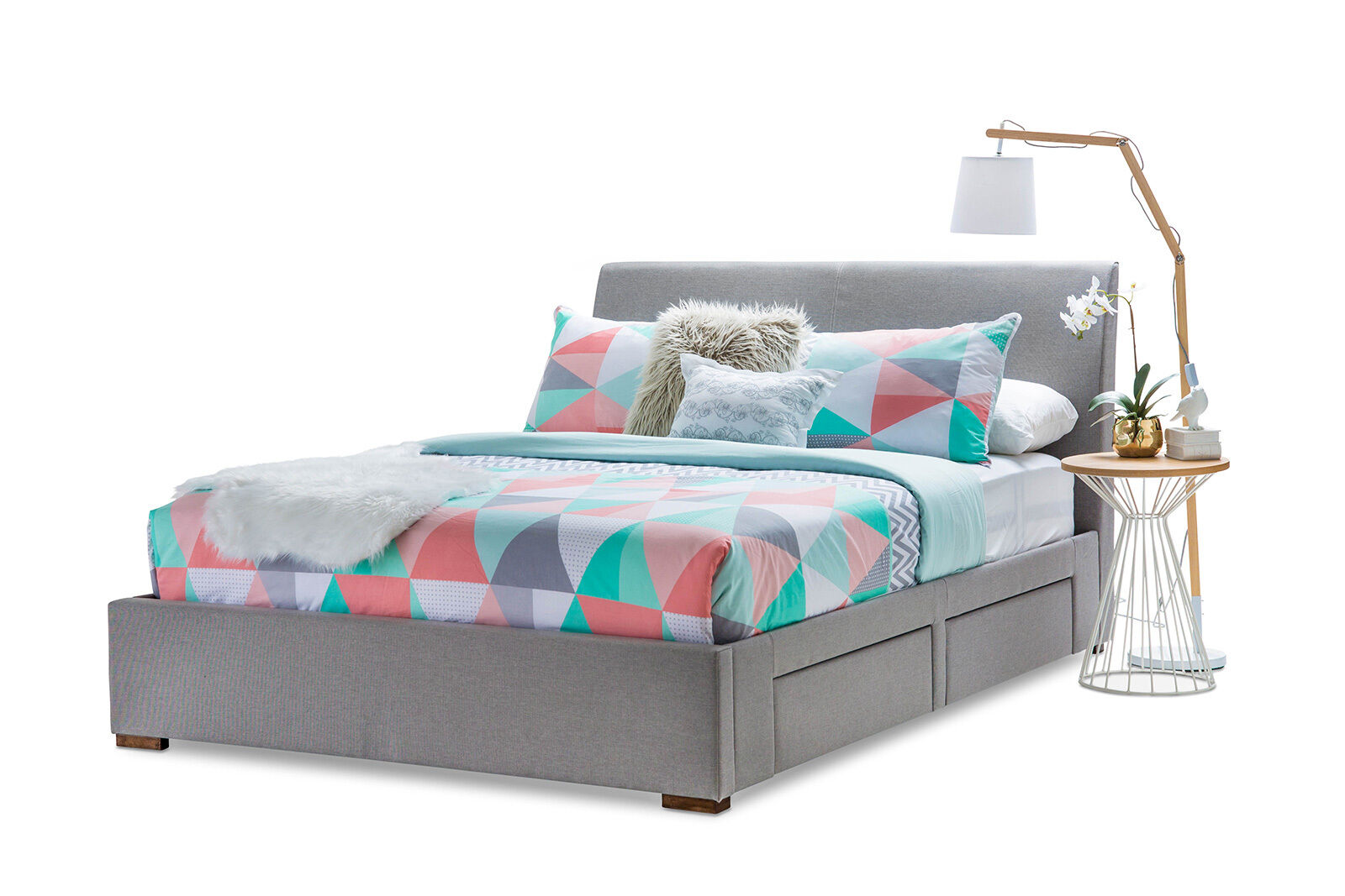 Stylish grey fabric upholstered queen size bed frame with for Fabric bed frame with storage