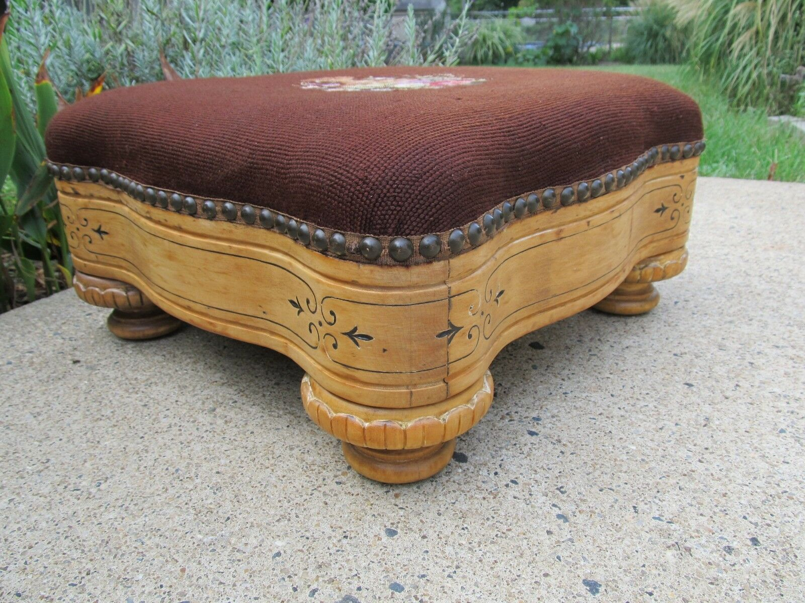 Antique Footstool with Needlepoint Top Nicely Detailed, Turned Legs