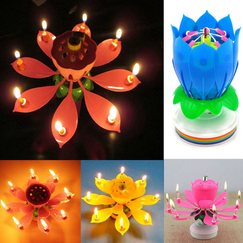Musical Rotating Lotus Flower Candle Lights Happy Birthday Romantic
