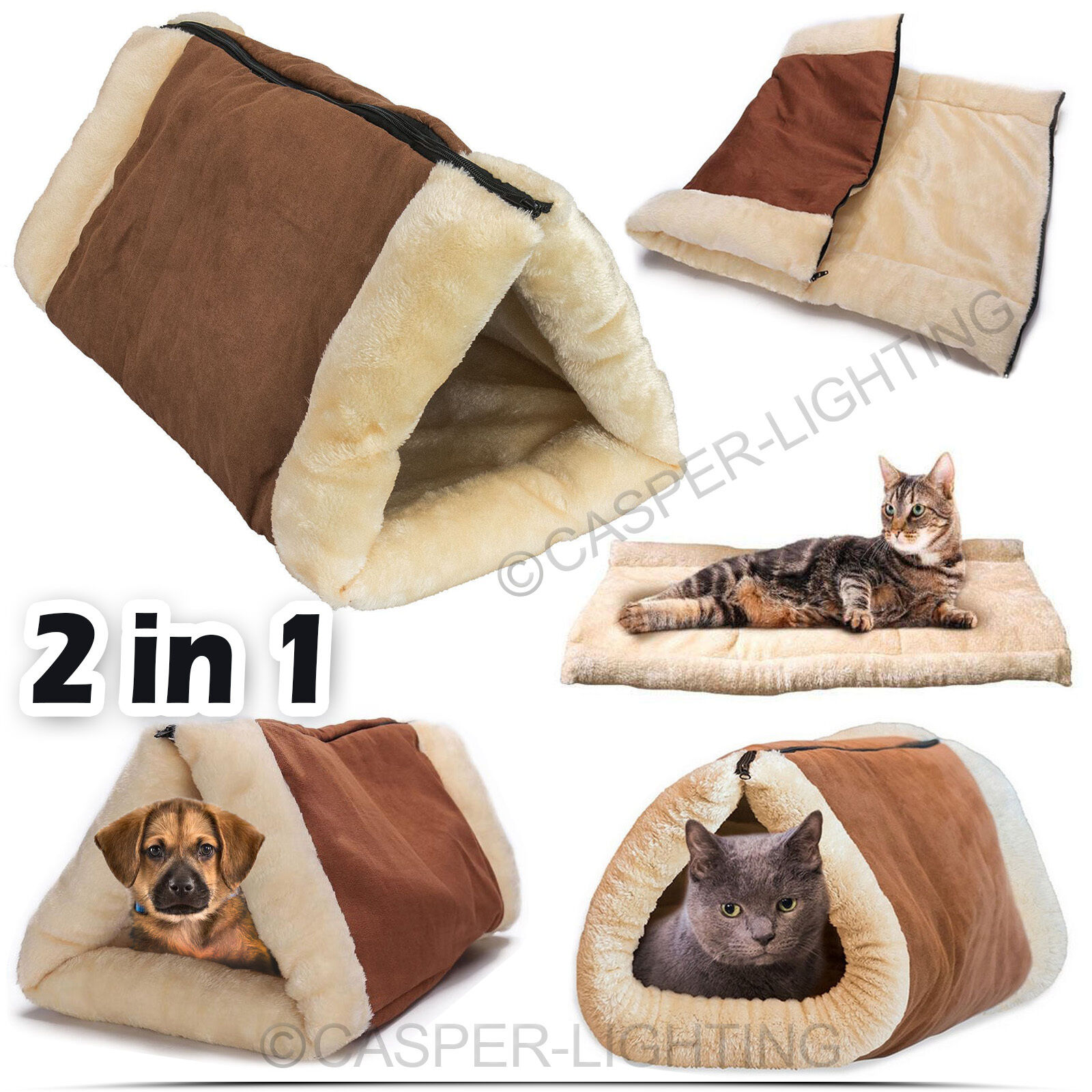 2 In 1 Pet Tunnel Bed Mat Cat Cushion Puppy Pad Fleece Heating Sofa Pet Blanket