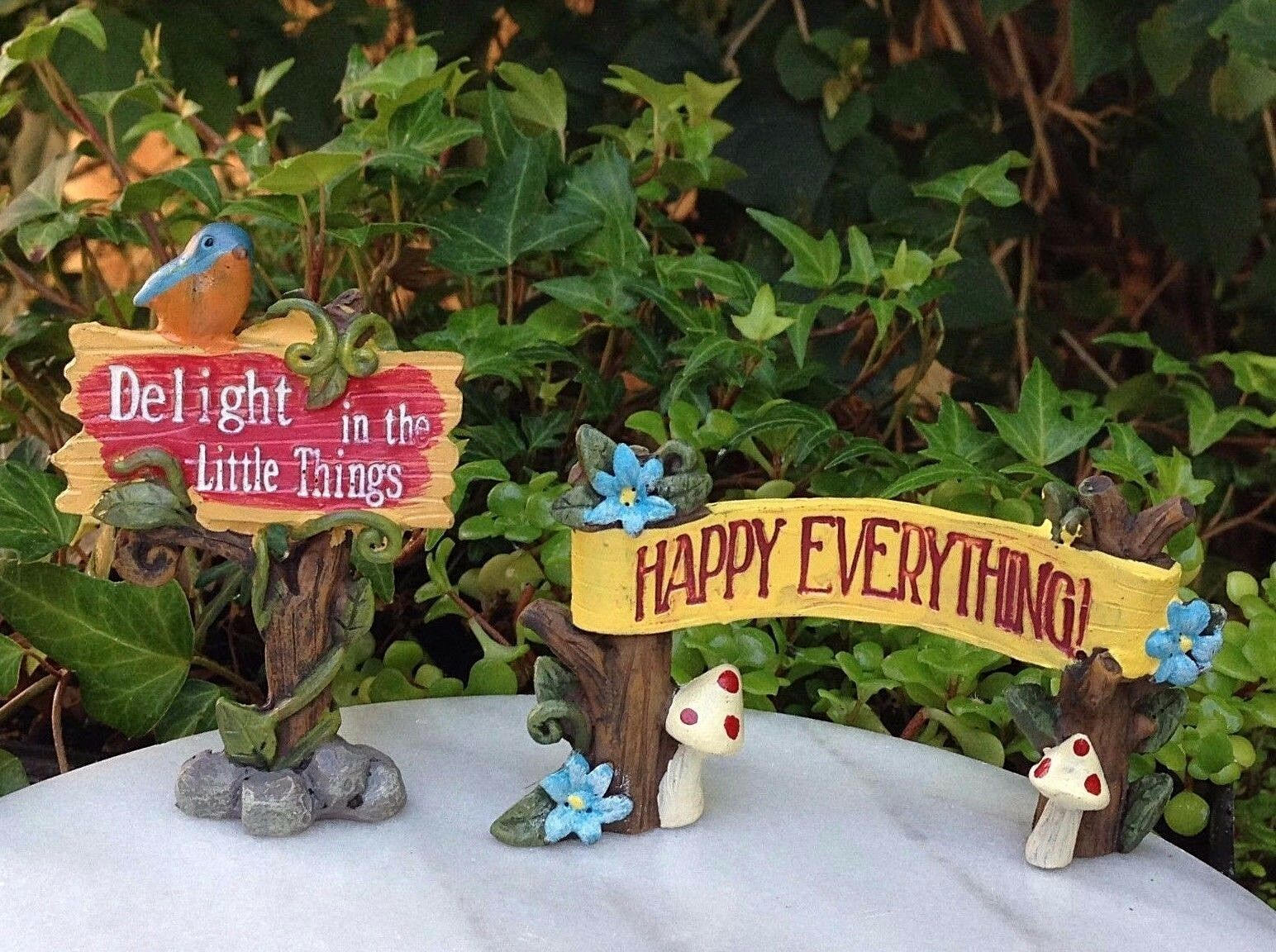 Miniature Dollhouse FAIRY GARDEN ~ Set / 2 Signs HAPPY Everything U0026 DELIGHT  Sign 1 Of 7 Miniature Dollhouse FAIRY GARDEN ~ Set ...
