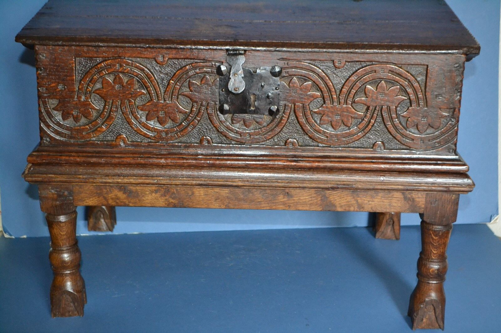 Stunning Early 18th Century Bible Box On Later Stand,Carved Panels,c1720