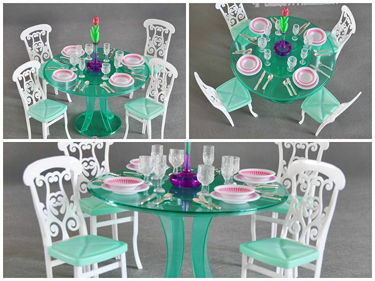 NEW Barbie Size Dollhouse Furniture-green Dining Room, Complete ...