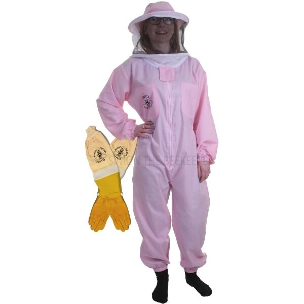 BUZZ BASIC Pink Beekeeping Suit with Round Veil & Ventilated Gloves