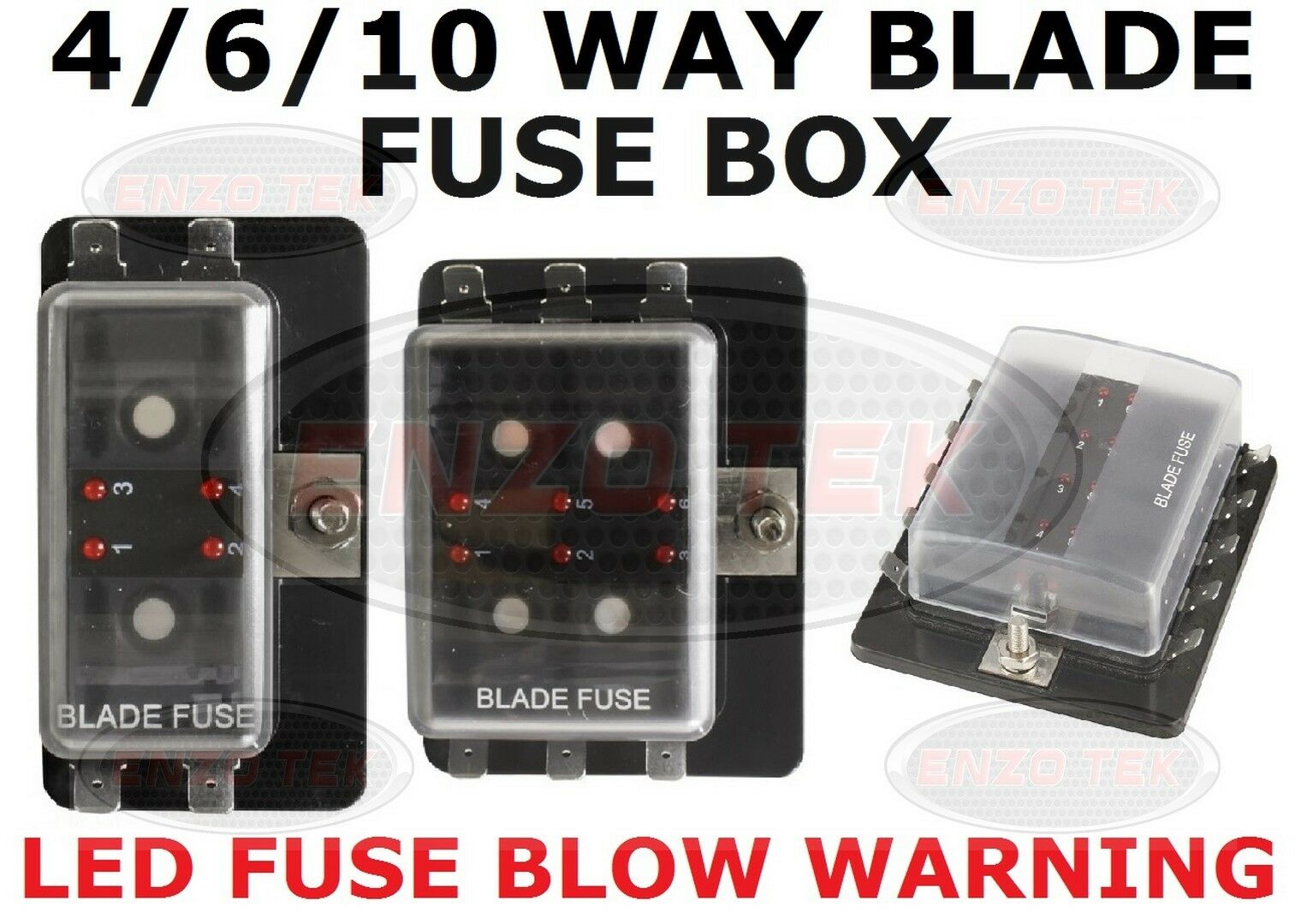 4 6 10 Way Power In Blade Fuse Box Holder With Led Failure Warning 1 Of 1free Shipping