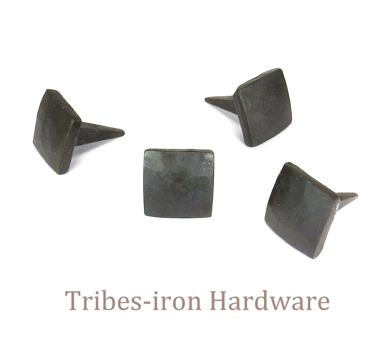 """24 IRON NAILS HAND FORGED 3/4"""" SQUARE HEAD Rustic Metal Clavos Door Decor Studs"""