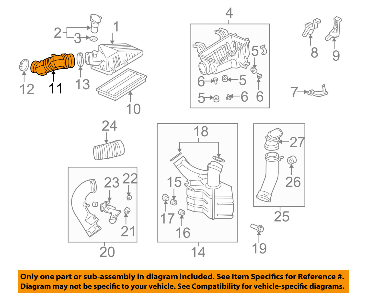 Honda Oem 06 11 Civic Air Cleaner Intake Tube Duct Hose 17228rrba01 2011 Si Engine Diagram 1 Of 2only Available