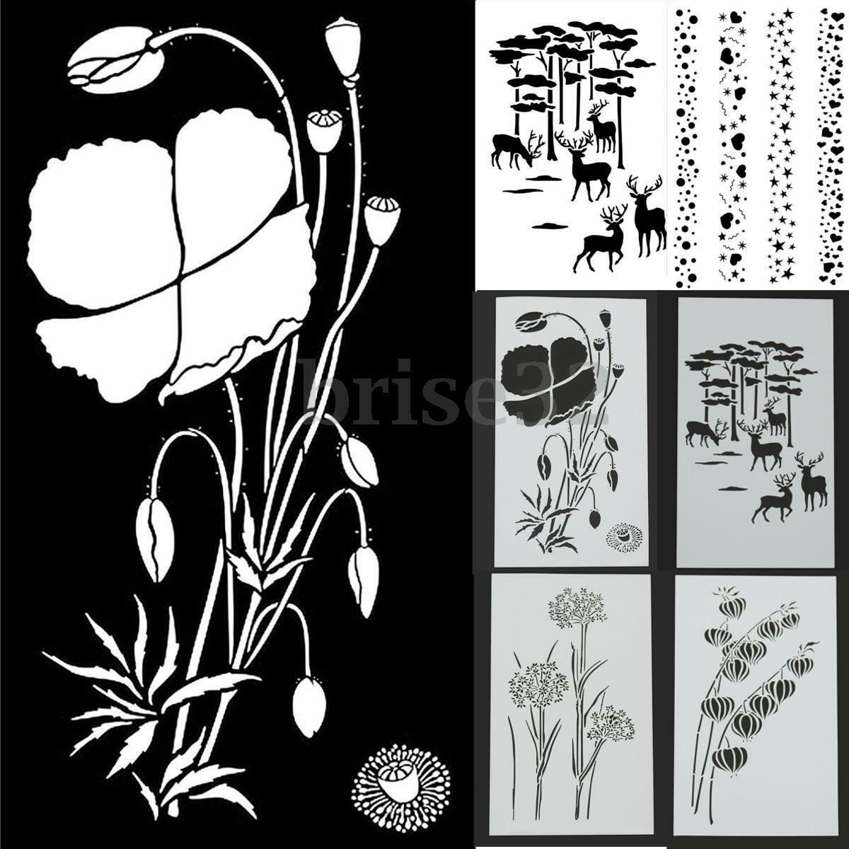 reusable stencil airbrush painting art diy home decor scrapbooking album craft cad. Black Bedroom Furniture Sets. Home Design Ideas