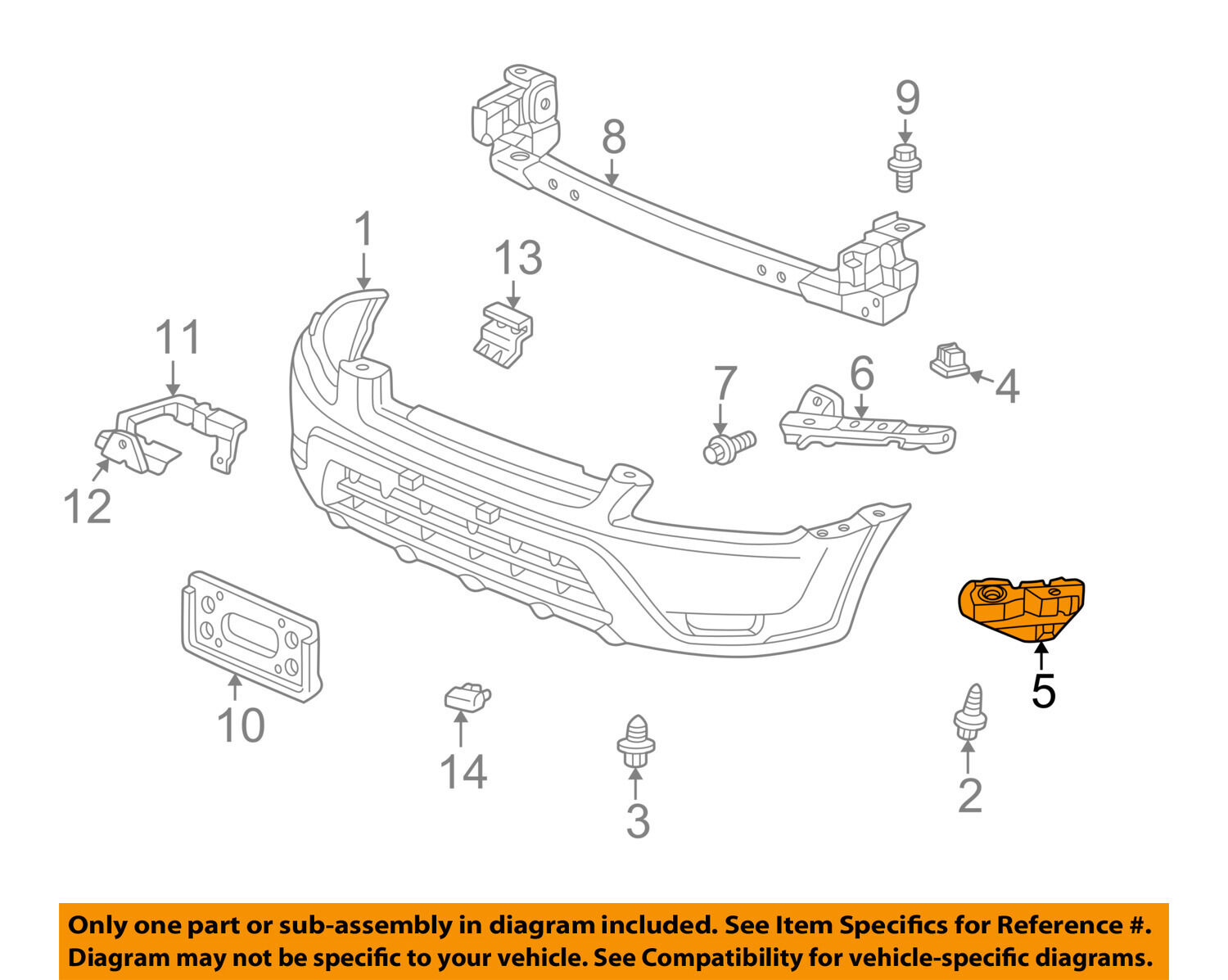 Honda Oem 02 06 Cr V Front Bumper Spacer Support Bracket Right 2002 Crv Parts 1 Of 2only Available 71193s9a000