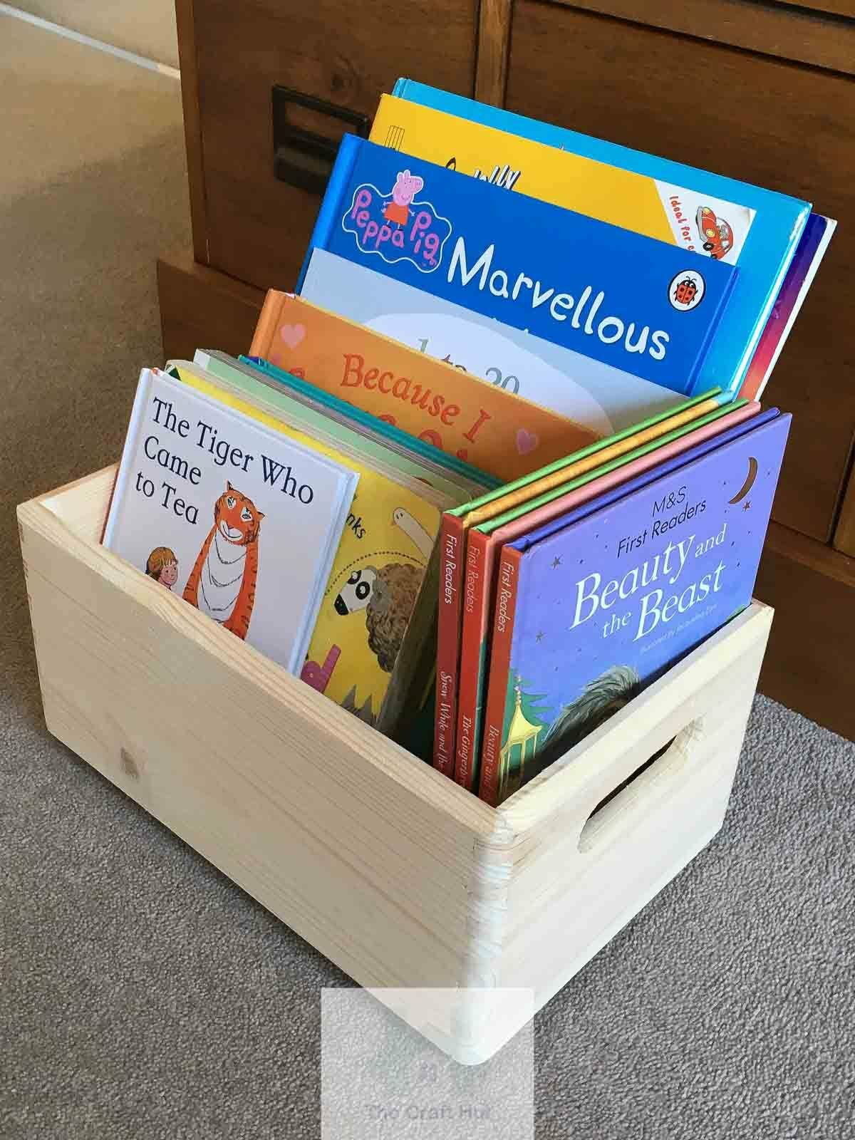 Wooden Toy Box Crate Small Stackable Storage With Handles