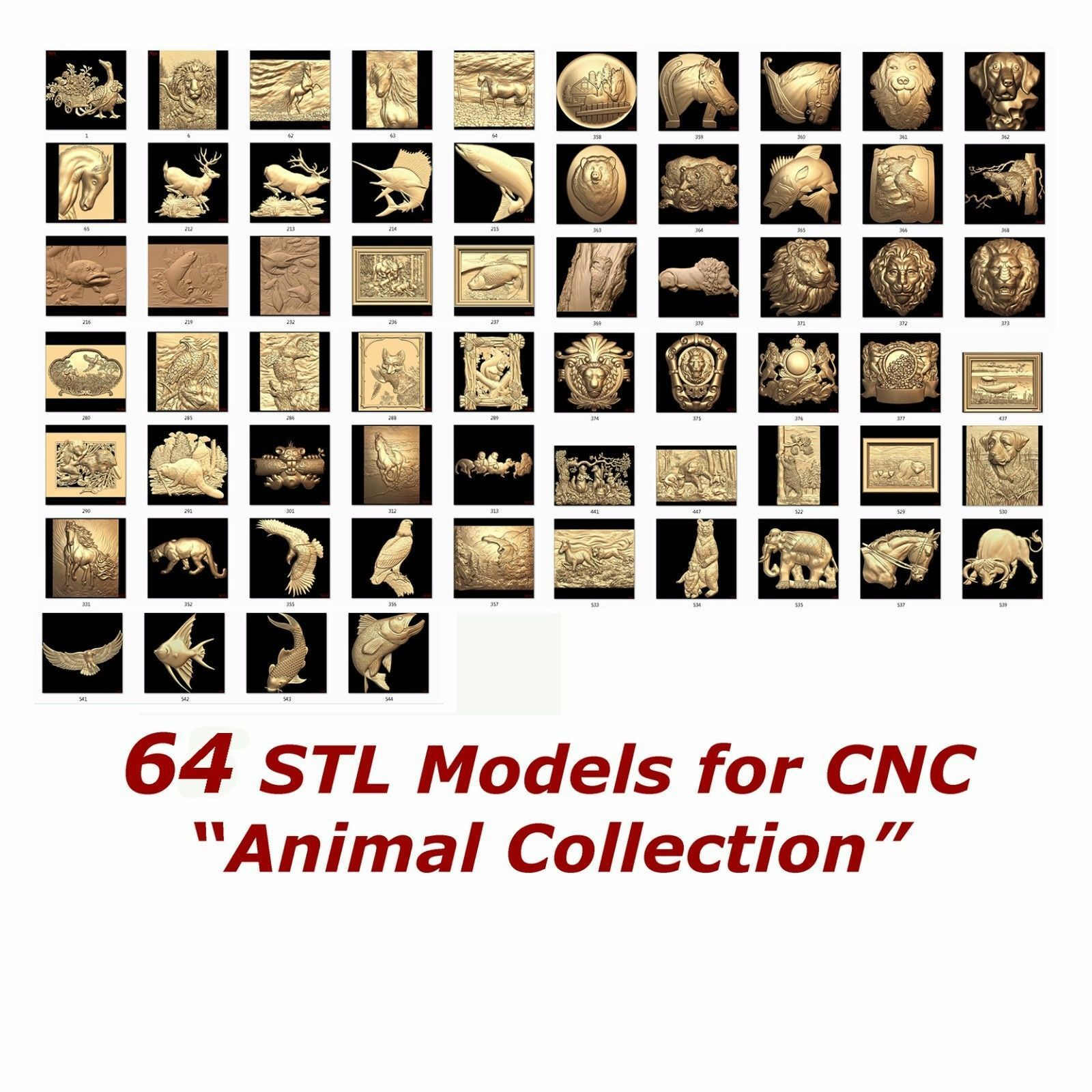 64 3d Stl Models Animal Collection For Cnc Relief