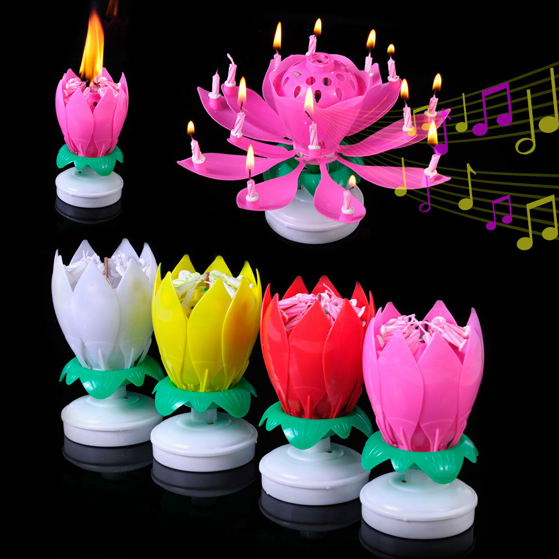 Amazing Musical Rotating Lotus Flower Birthday Candle Party
