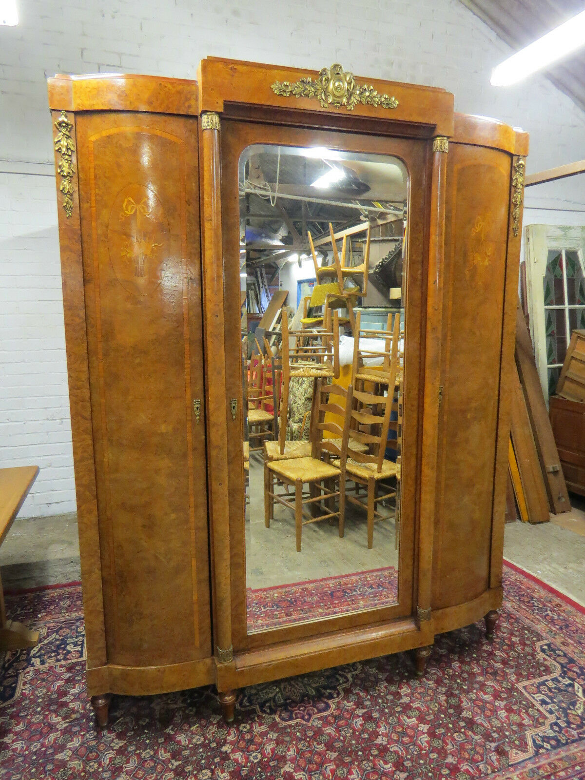 Superb Quality French Art Deco Walnut Wardrobe / Armoire / Cupboard Circa 1925